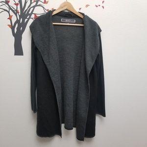 BNCI Blanc Noir Black & Gray Open Front Cardigan